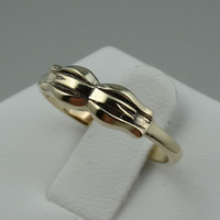 Vintage Forget-Me-Not Bow 14k Solid Gold Ring
