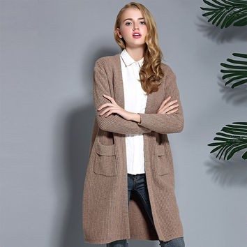 New autumn winter women sweaters fashion wool blends knitted long cardigan woman clothing coats Christmas sweater femme oversize