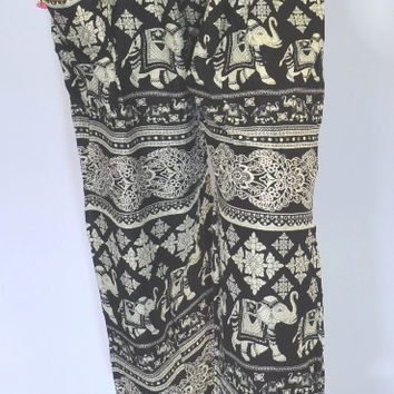 Handmade long Black Grey Elephant Yoga Pants, Harem Pants/Elephant Print design/elastic waist, ankles/Maternity pant/Relax pants/Thai yoga.