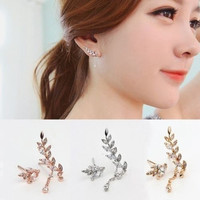 Elegant Fashion Women Charm Asymmetric Leaf Crystal Ear Cuff Stud Clip Earrings = 1958350340
