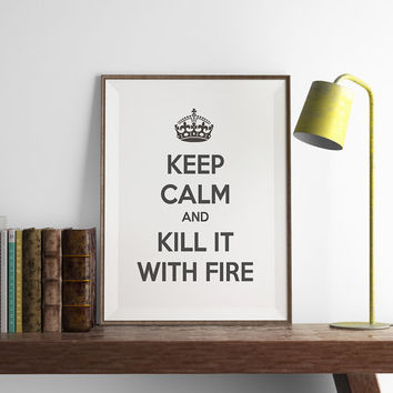 Keep Calm and Kill it with Fire Print | Kitchen Wall Art | Keep Calm | Art Printable | Printable Wall Art | PDF Download | Funny Art