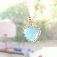 Gold turquoise necklace, Heart necklace, gold necklace, gold heart necklace