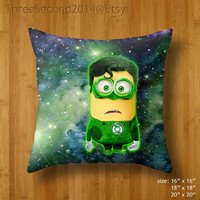 Decorative cushion Cool Funny Cute despicable me minions green lantern Double Side Pillow Case cover 16 18 20 inch by ThreeSecond2014