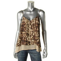 Bar III Womens Animal Print V-Neck Tank Top