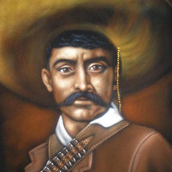 Emiliano Zapata badass Revolution heroe black velvet oil painting handpainted signed art