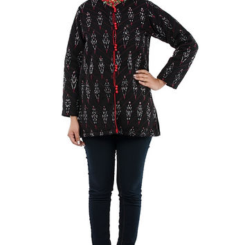 Black Ikat Jacket with Floral Embroidered Collar