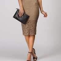 Sale-taupe Lace Shimmer Pencil Skirt