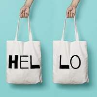 Hello Tote Bag Canvas Funny Typhography Totes Set - Hello Bag - Market Bag Canvas - Printed Tote Bag Hand Drawn - Quote Tote Bag