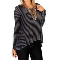 Sale-navy Striped Hi Lo Top