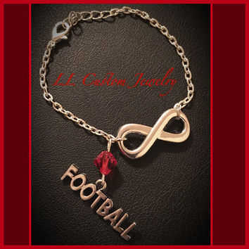 Infinity Sport Chain Bracelet- Choose a Charm & Bead - Cheer, Football, Dance, Hockey, Sport Mom, Music, sports