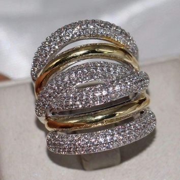 2018 New Brand Vintage Jewelry 14KT White&Gold Filled Pave Setting CLear 5A Zirconia Party Women Wedding Band Wide Finger Ring