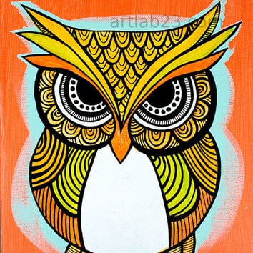 Tribal Owl Art Print  - 4x6 - orange indian  aboriginal tribal henna design patterned owl