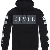 Civil Box Fleece Hoodie - Mens Hoodie - Black