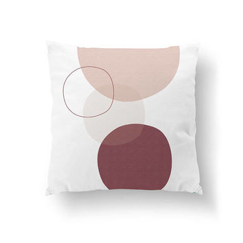 Abstract Shapes, Throw Pillow, Decorative Pillow, Pink Burgundy White, Circle Pillow, Pastel Decor, Home Decor, Cushion Cover, Simple Design