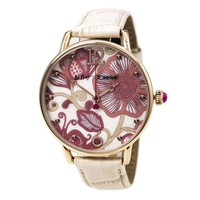 Betsey Johnson BJ00207-06 Women's Slim Pink Floral White MOP Dial White Leather Strap Watch