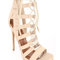 Nude Strappy Lace Up Single Sole High Heels Faux Leather
