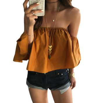 Womens Off Shoulder Blouse Summer Solid Short Sleeve Casual Shirt