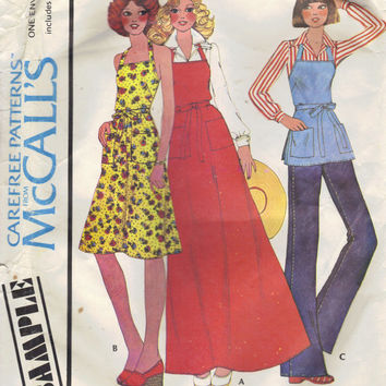 Misses Butcher Apron Dress McCall's 70s Sewing Pattern Maxi Midi Length Wrap Tie End Waist Halter Bare Shoulder Uncut All Sizes Bust 30-42