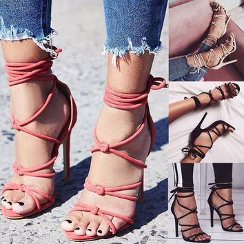 Women Shoes Stiletto Open Toe Sandals High Heel Lace Up Hollow Out Fashion