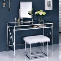 Furniture of America Ailees Contemporary Glam 2-piece Vanity Table Set with Faux Fur Stool | Overstock.com Shopping - The Best Deals on Bedroom Accents