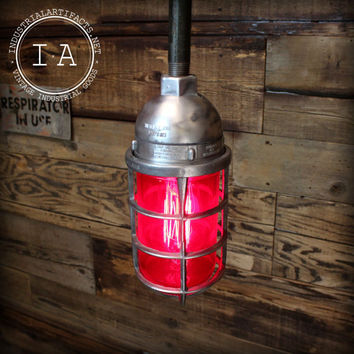 Vintage Industrial Killark Red Explosion Proof Ceiling Dome Pendant Lamp