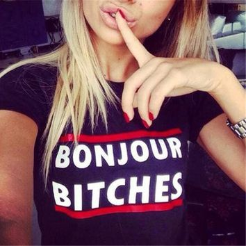 "Womens Cotton T-Shirt - ""Bonjour Bleep"""