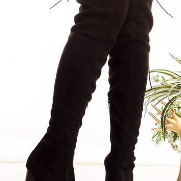 BLACK SUEDE ZIPPER BACK LACE OVER THE KNEE CHUNKY HIGH HEEL BOOTS