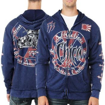 Affliction Chica Stamp Full Zip Hoodie - Navy Lava Wash