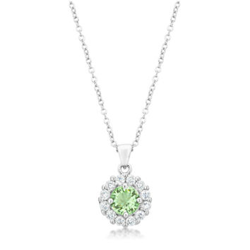 Belle Peridot Green Round Cut Halo 4ct Cubic Zirconia Pendant Necklace.