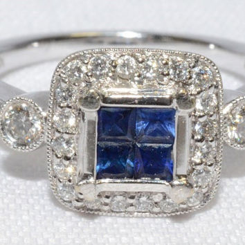 18k White Gold, Diamond and Rich Blue Sapphire Vintage 1920's Art Deco Engagement Ring
