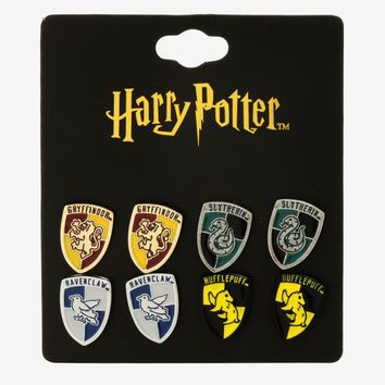 Licensed cool Harry Potter Hogwarts House Crest Logo 4 Pair Post Insertion Pierced Earrings