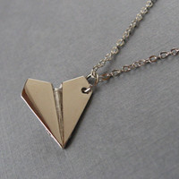 Paper Plane Pendant, Silver Paper Airplane Necklace, Harry Styles, One Direction, 1D Necklace