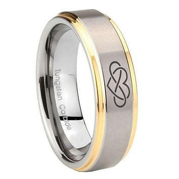 10mm Infinity Love Step Edges Gold 2 Tone Tungsten Carbide Mens Engagement Band