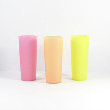 Vintage Tupperware Tumblers, Pastel, Neon, Pink, Orange, Yellow, Set of Three, Tupperware Glasses, Retro