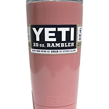YETI Coolers 20 oz (20oz) Powder Coated Rambler Tumbler Cup with Extra Spill Proof Lid - Keeps your 20oz drink cold or hot for hours (Coral)