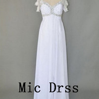 High Quality Straps Sequins Beading White Chiffon Long Prom/Evening/Party/Homecoming/cocktail /Bridesmaid/Formal Dress