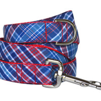 Royal Blue Plaid Dog Leash