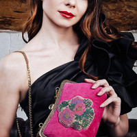 Evening handbag, suede handbag, deep pink with embroidered with seed beads flowers Evening bag clutch