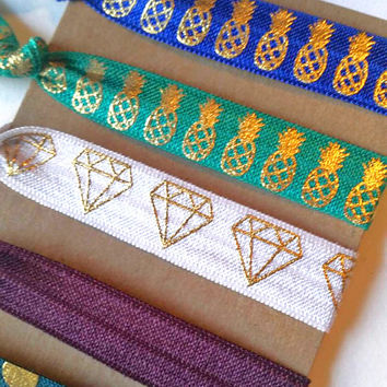 Jewel toned elastic hair tie ponytail holders with gold pineapples, diamonds, and polka dots cute gift for her