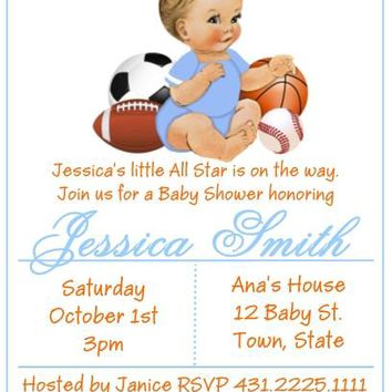 10 All Star Sport Baby Shower or Birthday Party Invitations