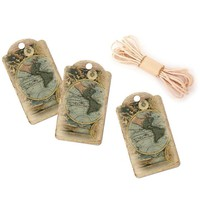 Map Hang Tags - Travel Party Favor Tags - Pack of 10