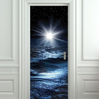 "Door STICKER sea night water mural decole film self-adhesive poster 30x79""(77x200 cm) /"