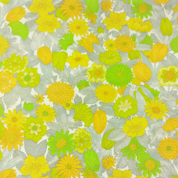 Vintage Barkcloth Fabric, Flower Print, Floral Pattern, Retro Print, 1960's, Upholstery, Textiles, Curtains and Drapes, Mod Print, Material