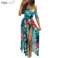 HAOYUAN Off Shoulder Long Maxi Dress Women Summer Plus Size Clothing Backless Bodycon Floral Print High Split Sexy Beach Dresses
