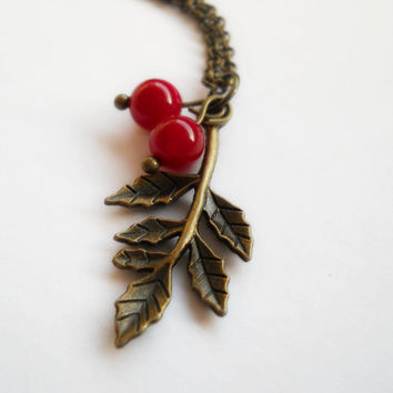 Cherries pendant, antique brass leaf necklace, tiny jade beads pendant, gemstone beads, kawaii cherries, red jade beads necklace