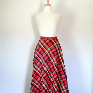 Vintage 70s Red Plaid Maxi Skirt