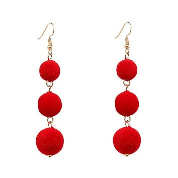 POM POM BALL DROP EARRINGS