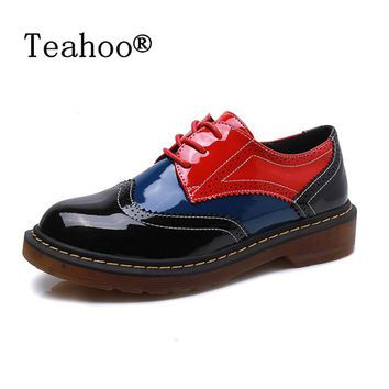 2017 Autumn Fall Women Oxford Shoes Vintage Round Toe Women Flats Derby Ankle Boots England Style Ladies Shoes Chaussure Femmer
