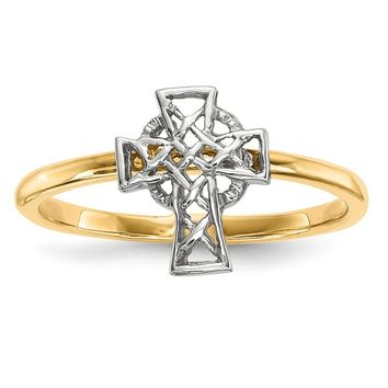 14K Rhodium Plated Yellow Gold Polished Celtic Cross Ring