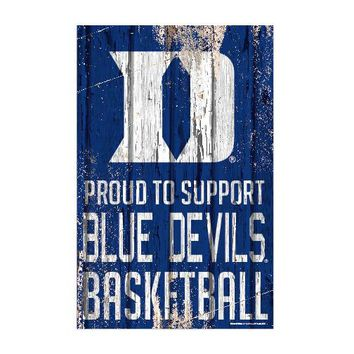 Duke Blue Devils Sign 11x17 Wood Proud to Support Design